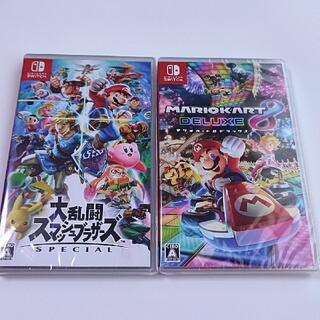 ニンテンドースイッチ(Nintendo Switch)の新品未開封 マリオカート8デラックス 大乱闘スマッシュブラザーズ 2本セット(家庭用ゲームソフト)