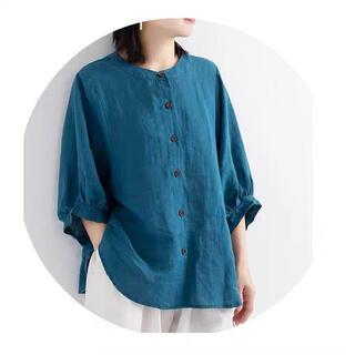 MUJI (無印良品) - 綿亜麻 紺色 丸襟半袖シャツ 森ガール ゆめかわ