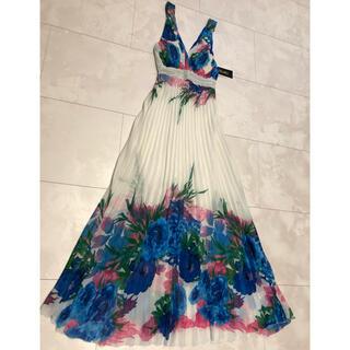 ドレス ロングドレス プリーツワンピース タンクトップ 花柄 薔薇 レース