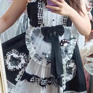 Angelic Pretty - 肉球 黒白エプロン ロリータ ゆめかわ 量産系 地雷系 甘ロリ 原宿 ゴシック
