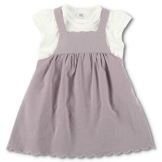 ブランシェス(Branshes)のbranshes スカラップジャンパースカート+半袖Tシャツ 80 新品未使用(ワンピース)