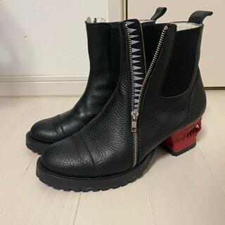 ヨウジヤマモト(Yohji Yamamoto)のha za ma 宣戦布告のヒールブーツ 黒/赤(ブーツ)