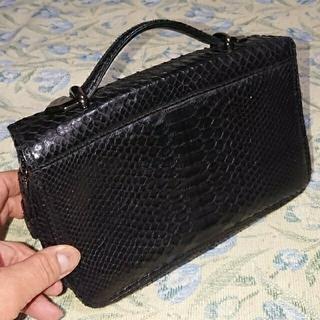 希少!美品! パイソン 蛇革 セカンドバッグ クラッチバッグ 財布 高級感