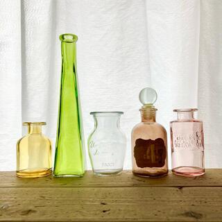 ガラス瓶まとめ売り 花瓶 一輪挿し 小瓶 ガラスボトル 5本セット B