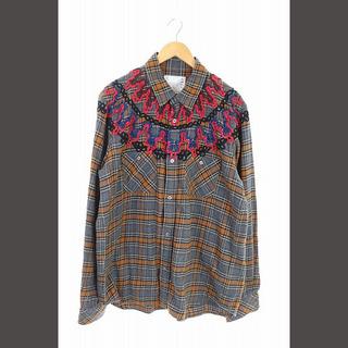 sacai - サカイ sacai 18AW シャツ 刺繍 チェック 長袖 3 グレー