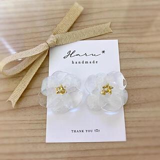 お花のクリアピアス イヤリング