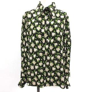 ドルチェアンドガッバーナ(DOLCE&GABBANA)のドルチェ&ガッバーナ ドルガバ ブラウス シャツ 長袖 花柄 44 L 黒 緑(シャツ/ブラウス(長袖/七分))