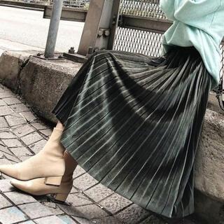 【即日発送】 カーキ ベロア調 ギャザー プリーツ スカート ミモレ 膝丈