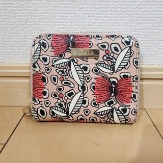 Furla - 美品 FURLA 花柄 レザー 2つ折り財布 ラウンドファスナー