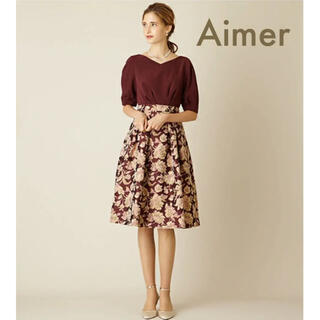 エメ(AIMER)の美品 AIMER 4.3万 フラワージャガードカフス ドレス ワンピース(ひざ丈ワンピース)