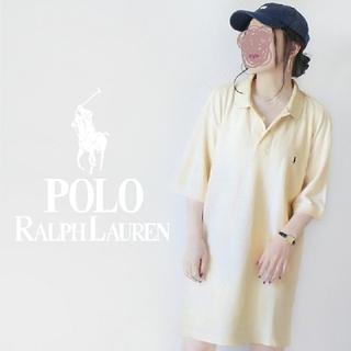 POLO RALPH LAUREN - 【90s・USA製】Polo アイボリー 刺繍 超BIGポロシャツ ワンピース