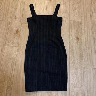 ラルフローレン(Ralph Lauren)のRALPH LAUREN ジャンパースカート ワンピース ストライプ黒(ひざ丈ワンピース)