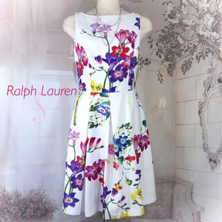 ラルフローレン(Ralph Lauren)のRalph Lauren ホワイト ピンクパープルフラワーワンピース S(ひざ丈ワンピース)