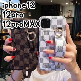 iPhone - 《大人気》iPhone12 12pro ケース iPhone 格子柄 大人可愛い