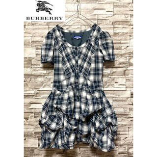 BURBERRY - 【美品】 バーバリー  ノバチェック裾 フリル 半袖シャツワンピースチェック柄