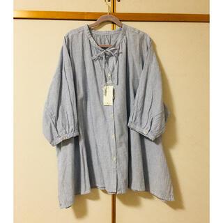 サマンサモスモス(SM2)のスタンドカラーリボン付き7分袖ブラウス(シャツ/ブラウス(長袖/七分))