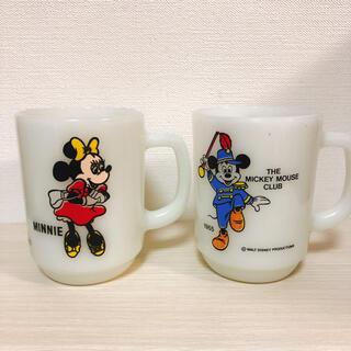 ファイヤーキング(Fire-King)のファイヤーキング ミッキー&ミニー マグカップ(グラス/カップ)