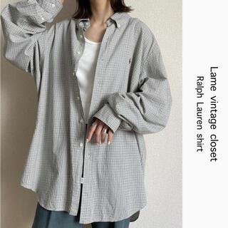 POLO RALPH LAUREN - 90s 古着 ラルフローレン 刺繍ロゴ チェックシャツ ビッグシルエット