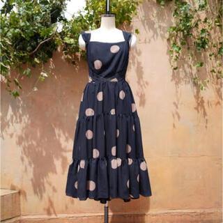 snidel - herlipto Polka Dots Open Back Dress navy