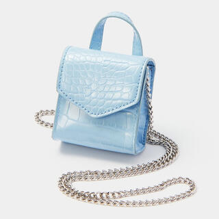 GU - 新品 GU クロコ 型押し マイクロミニ チェーン ショルダーバッグ ポーチ 鞄
