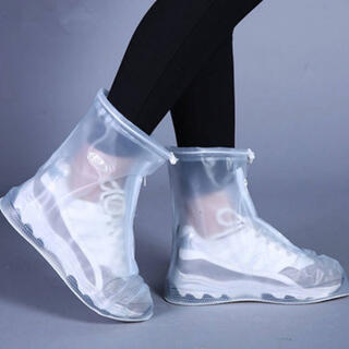 男女兼用!シューズカバー 靴カバー レインブーツ 滑り止め付き ホワイト S(レインブーツ/長靴)