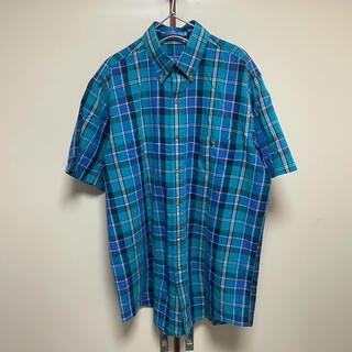 アロー(ARROW)のusa製 Arrow dover 半袖シャツ チェックシャツ 青 ビンテージ(シャツ)