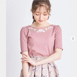 tocco - 【新品】トッコ 花柄フラワー刺繍 スカラ チュールネックリブプルオーバー ピンク