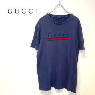 グッチ(Gucci)のGUCCI グッチ ロゴ プリント Tシャツ L 正規品 ネイビー 完売品 定番(Tシャツ/カットソー(半袖/袖なし))