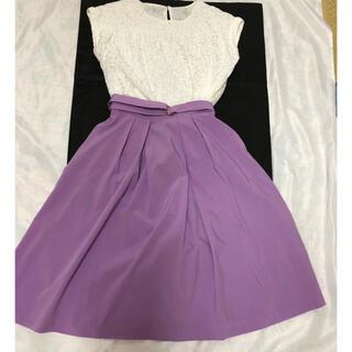 エニィスィス(anySiS)の美品 any SIS  白レーストップス&薄紫のスカート!2点セット(セット/コーデ)