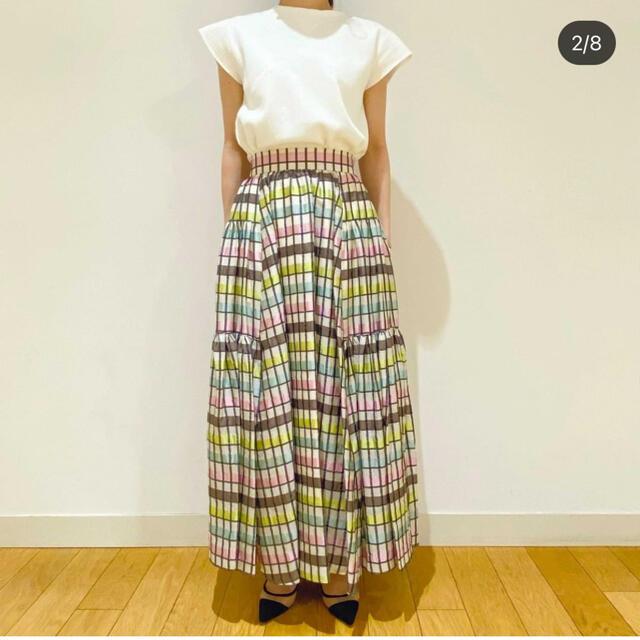 Drawer(ドゥロワー)のSHE TOKYO michelle multi check 34 レディースのスカート(ロングスカート)の商品写真