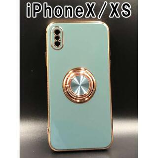 iPhoneX/Xs スマホ ケース 韓国 人気 シンプル ブルーグレーF(iPhoneケース)
