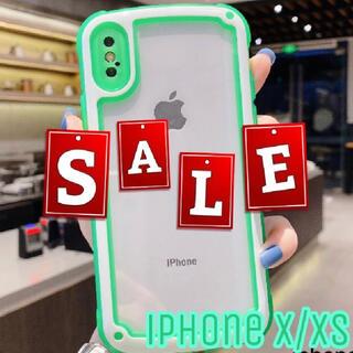 シンプル フレーム iPhone用ケース iPhoneX/XS ネオングリーン(iPhoneケース)