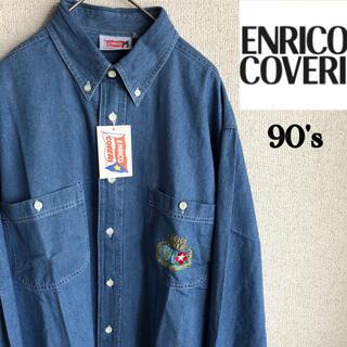 エンリココベリ(ENRICO COVERI)の新品 90s ENRICO COVERI 刺繍 長袖 デニム シャツ Lサイズ(シャツ)