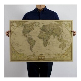 ビンテージ 世界地図 ポスター(地図/旅行ガイド)