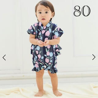 サニーランドスケープ(SunnyLandscape)の新品★arc チューリップ柄甚平ロンパース(80cm)(甚平/浴衣)