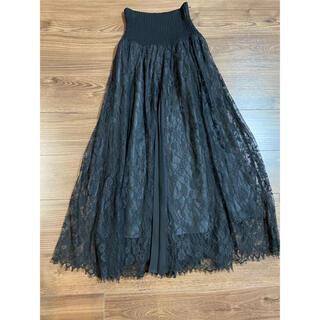 snidel - SNIDEL   スィッチングレーススカート 黒