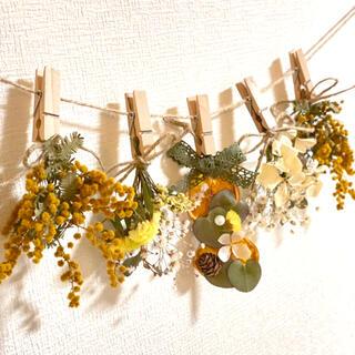 ドライフラワー スワッグ ガーランド ユーカリ ミモザ スターチス 紫陽花(ドライフラワー)