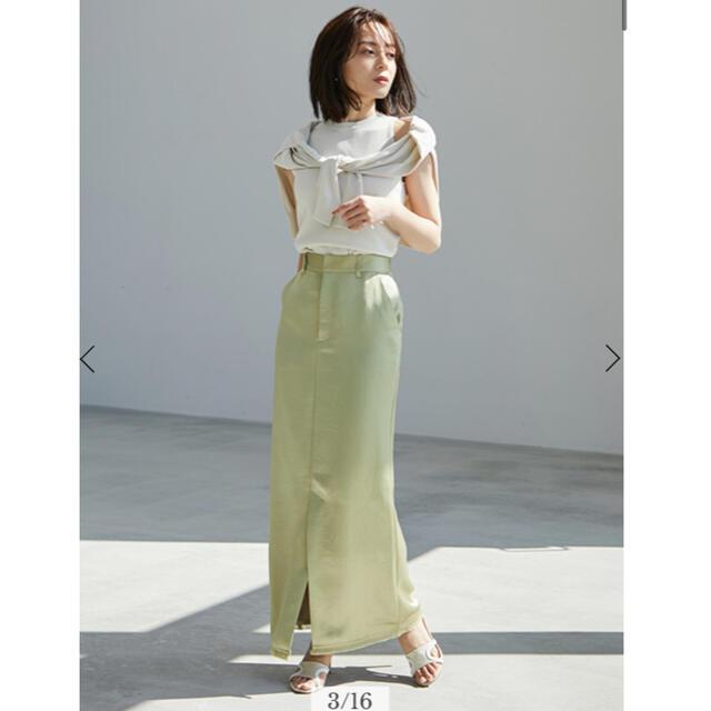 Noble(ノーブル)のanuans サテンフリンジタイトスカート レディースのスカート(ロングスカート)の商品写真