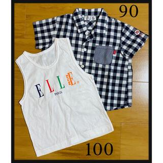 エル(ELLE)の【ELLE】半袖シャツ 90cm タンクトップ 100cm 白 日本製(Tシャツ/カットソー)
