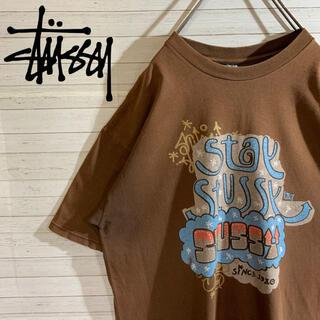 ステューシー(STUSSY)の【STUSSY】ステューシー 希少デザイン デカロゴ ブラウン Tシャツ(Tシャツ/カットソー(半袖/袖なし))