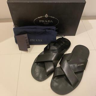 PRADA - PRADA プラダ メンズ レザーサンダル ブラック 黒 シンプルブランドロゴ
