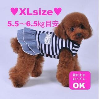 犬服 ペット服 デニム フリル 小型犬 イヌ服 ドッグウェア ワンコ わんこXL