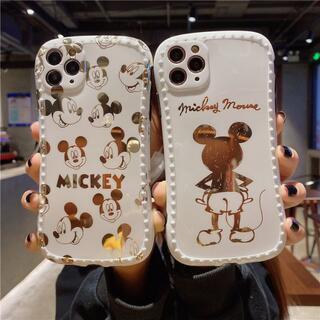 03 iPhone 12 全機種  シリコン ケース ミッキーマウス 金 19