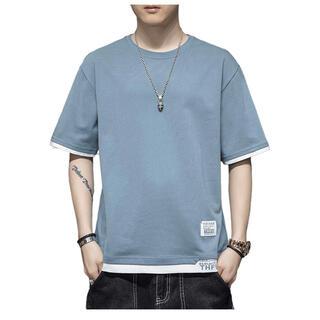 新品 tシャツ メンズ 無地 半袖 カジュアル おおきいサイズ ゆったり 五分袖