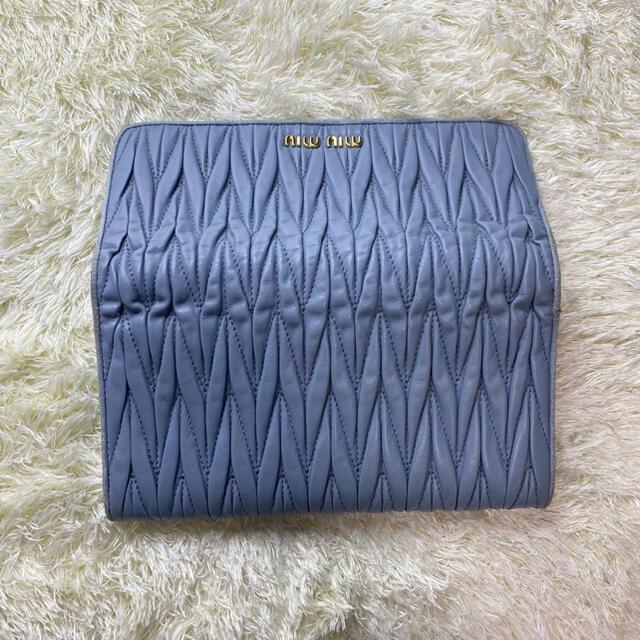 miumiu(ミュウミュウ)のMIU MIU ミュウミュウ ラウンドファスナー 財布  マテラッセレザー青 レディースのファッション小物(財布)の商品写真