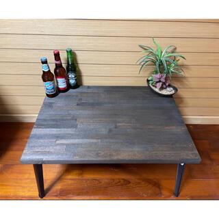 木目調センターテーブル ローテーブル   折り畳み 棚 収納可能(ローテーブル)