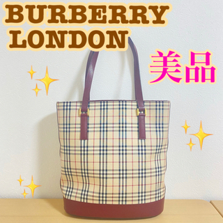 バーバリー(BURBERRY)のBurberry バーバリー ハンドバッグ 赤 レッド ノバチェック ロゴ型押し(ショルダーバッグ)