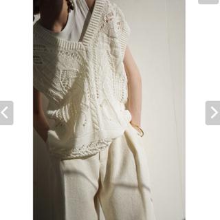 mame - mame  Knitted V Neck Vest - white