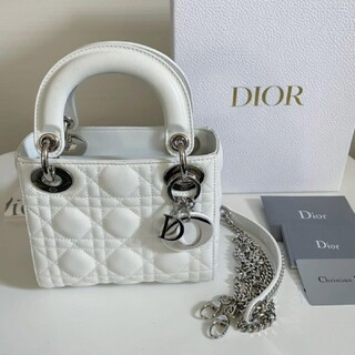 Christian Dior - 新宿伊勢丹購入 レディディオール ホワイト シルバー金具
