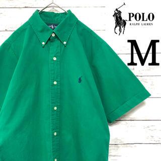 Ralph Lauren - 【90s】希少 ラルフローレン M 半袖シャツ 古着 緑 グリーン シャツ レア